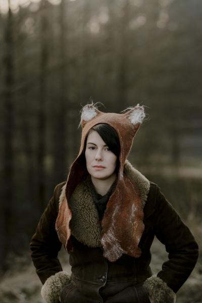 czapka z uszami lisa ffilcowa