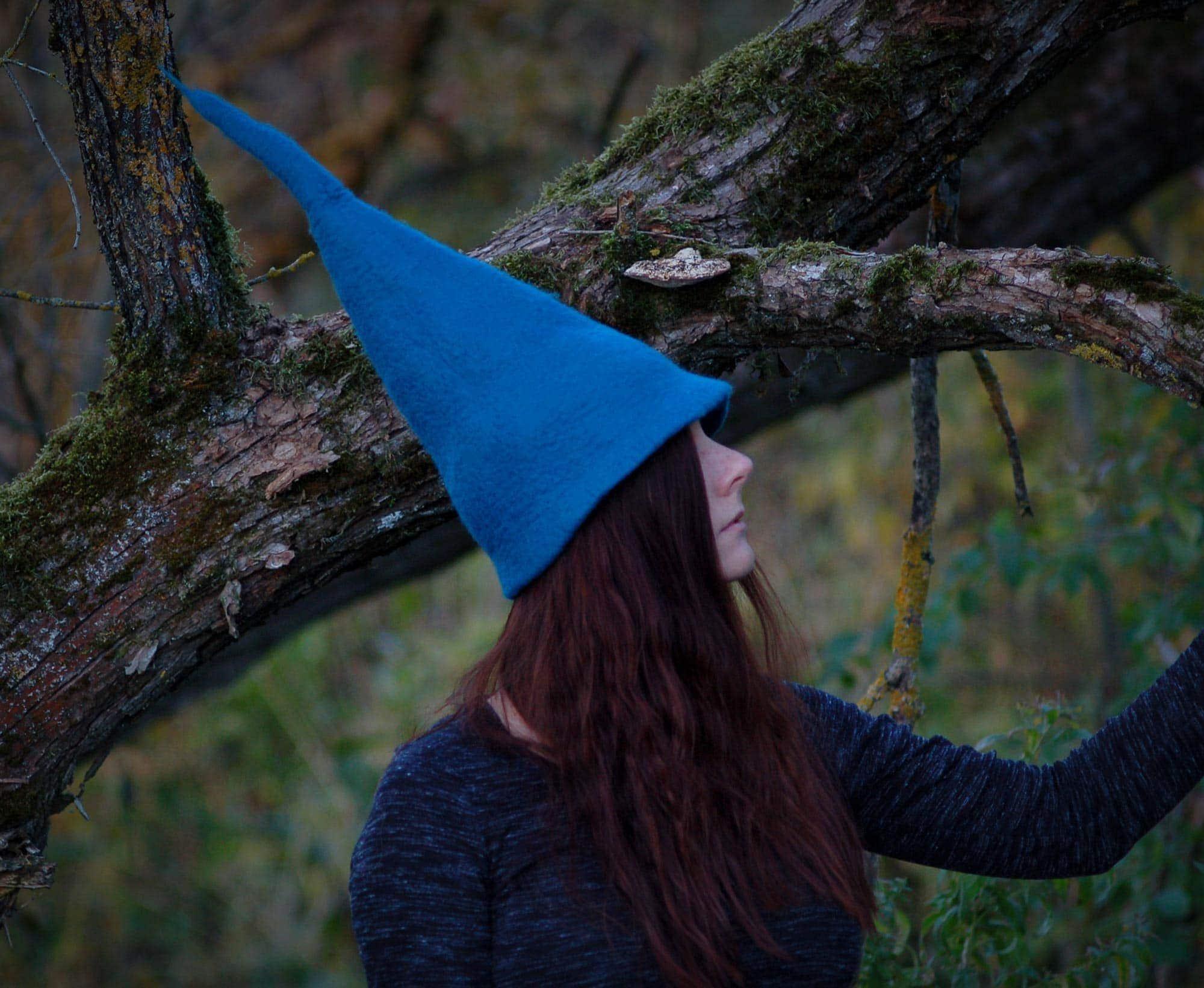 czapka wiedźmy błękitna z filcu